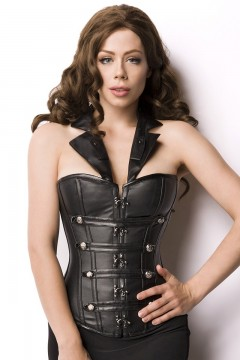 Leather Look Corsage (black)