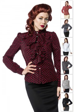 Ladys Ruffled Blouse (black/red)