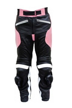 Womens Leather Pants with Armor (pink)