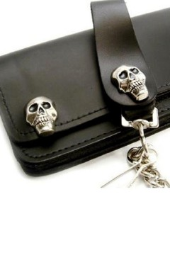 Leather Wallet with Chain (black)