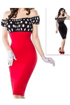 Vintage Pencil Dress (red, black)