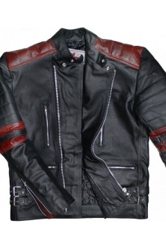 Motorcycle Leather Jacket with Protectors