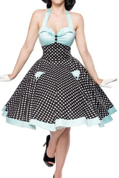 Vintage Swing Dress (blue/pink/white)