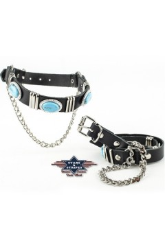 Boot Straps with Rhinestones (black)