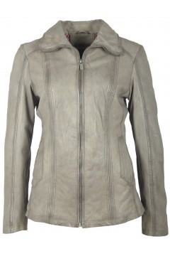 Women's Leather Jacket Corinna (light grey)