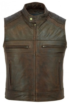 Motorcycle Leather Vest (brown)