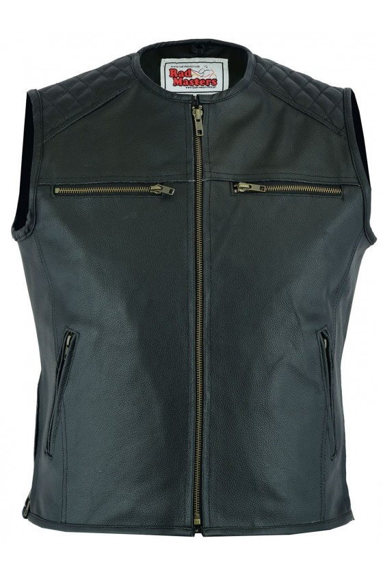 Motorcycle Leather Vest (black)