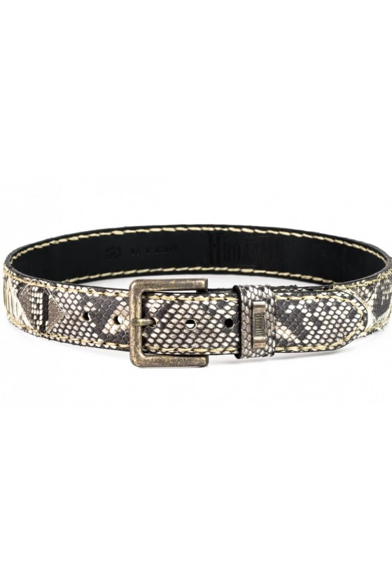 WHITE PYTHON LEATHER BELT (bright)