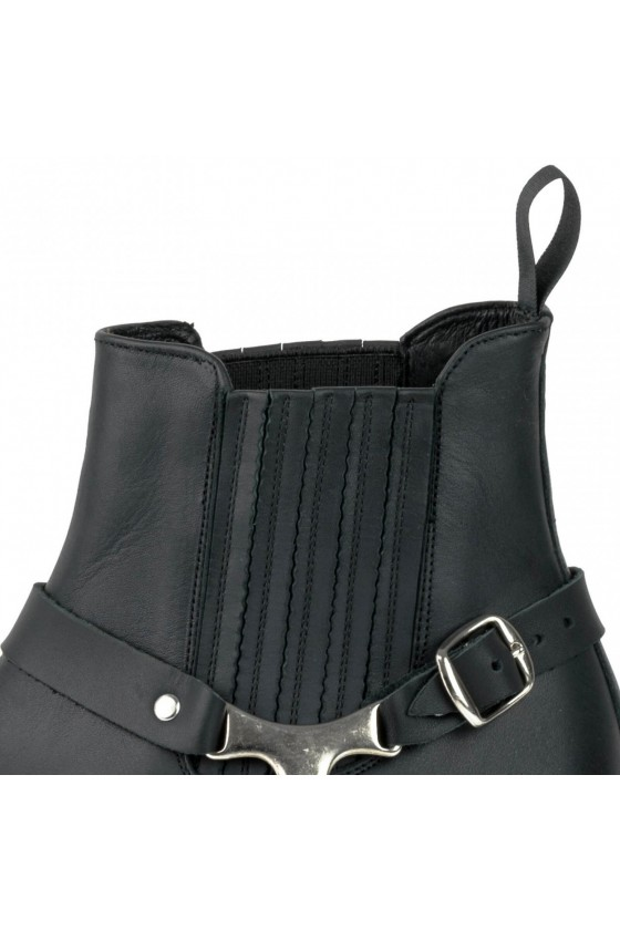 LEATHER ANKLE BOOTS WESTERN (black)
