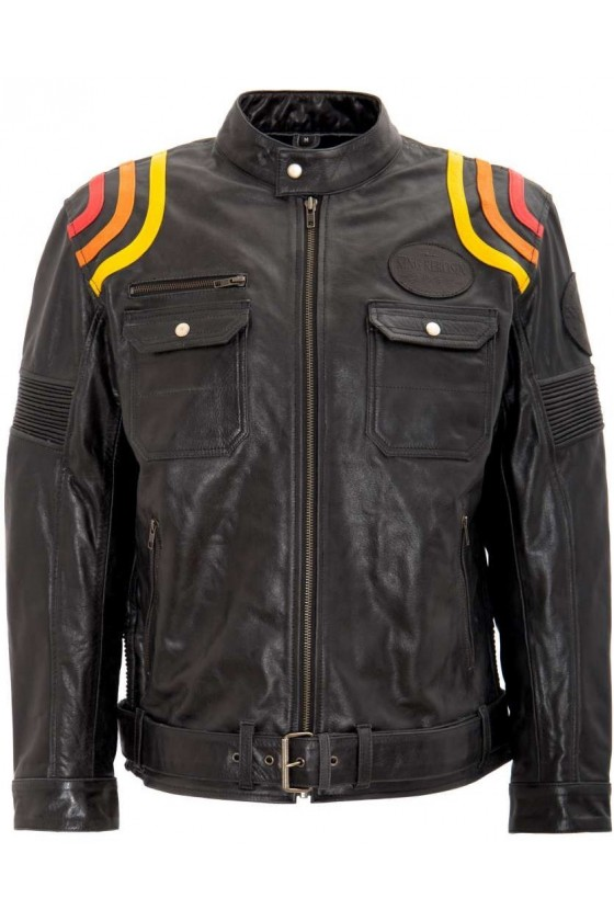 King Kerosin Leather Jacket Cafe Racer (black)