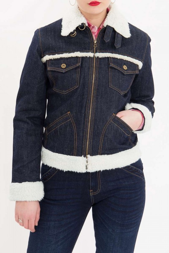DENIM JACKET WITH TEDDY FUR COLLAR (dark blue)