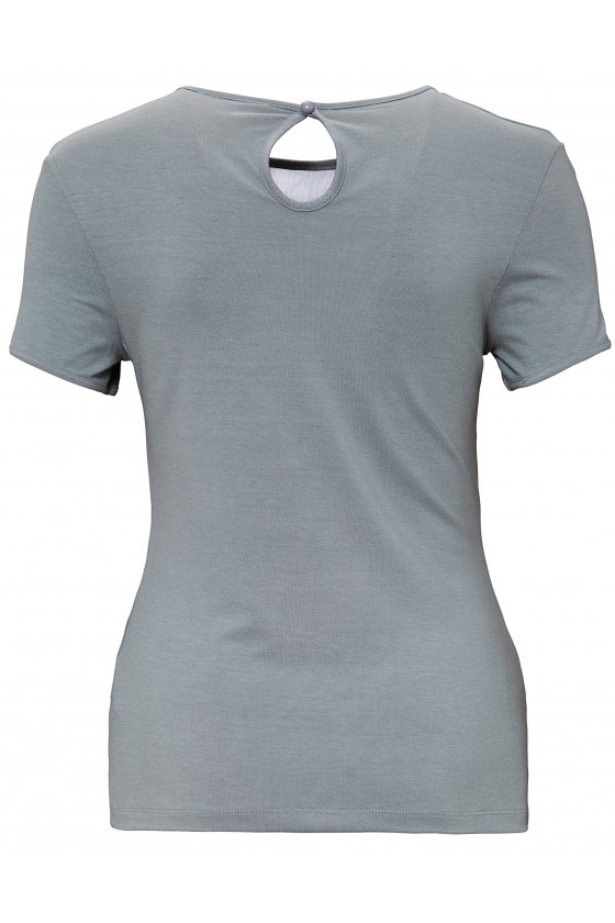 WOMEN'S T-SHIRT WITH LACE INSERT (grey)