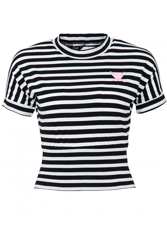 Women's Cropped Shirt with Stripes (black)