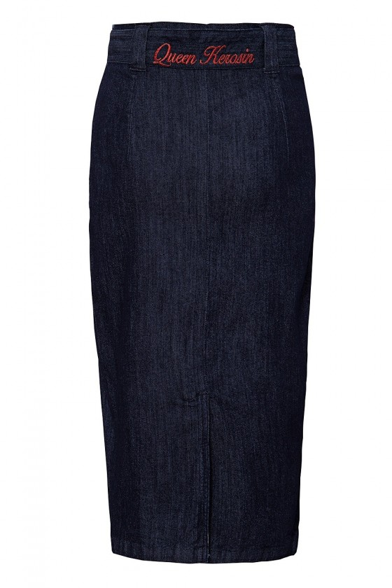 PENCIL SKIRT WITH BELT (dark blue)