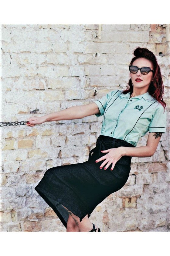 BLOUSE MOTOR QUEEN (turquoise)