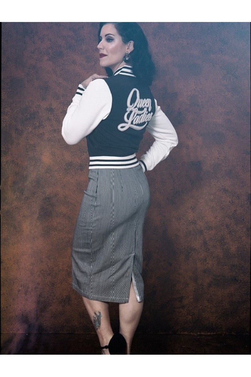 Pencil Skirt with Tie Belt (striped)