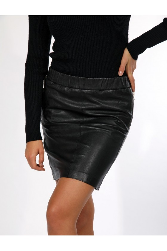 LEATHER SKIRT WITH STRIPES (black)