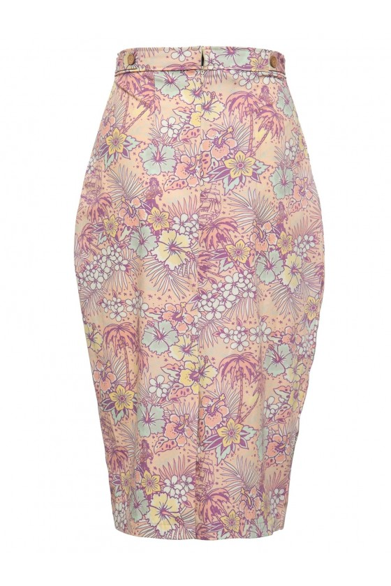 HAWAIIAN PATTERN PENCIL SKIRT (coral)