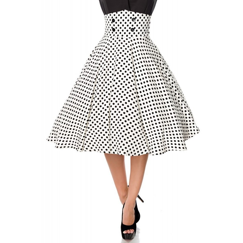 OVER KNEES ROCKABILLY SKIRT (white-black)