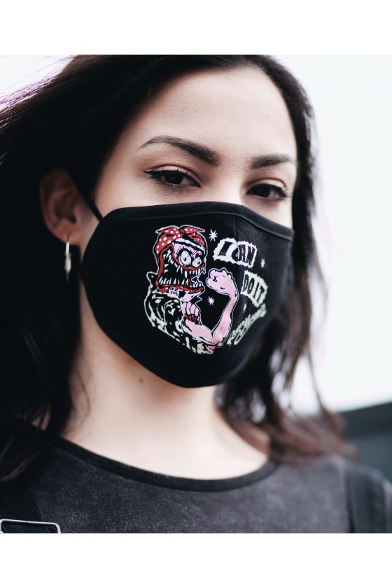LADIES FACE MASK I CAN DO IT - MONSTER (black)