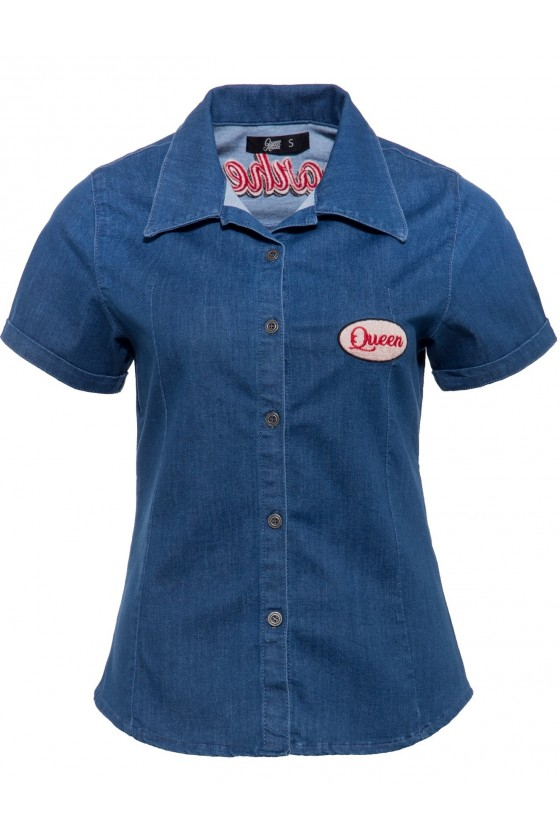 WOMEN'S DENIM BLOUSE GEARHEAD (blue)