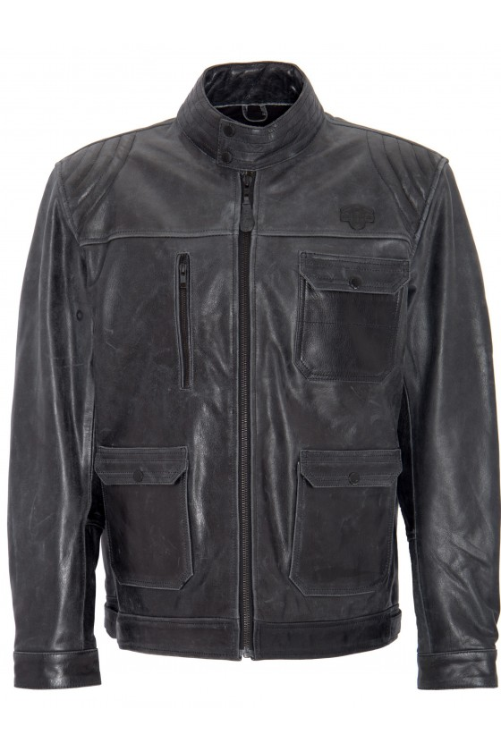VINTAGE LEATHER JACKET BIKER (black)