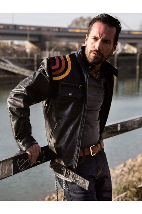LEATHER JACKET RACER STRIPES (black)