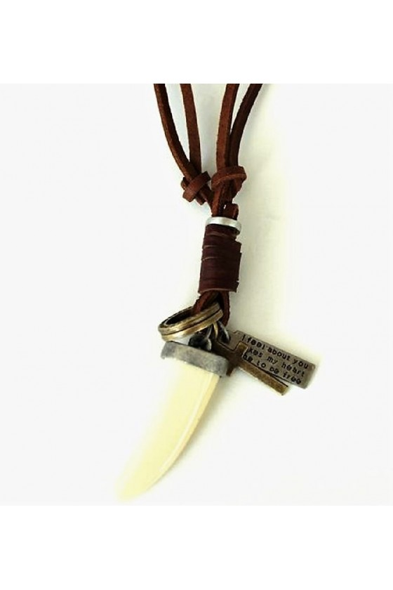 Leather Necklace with Tooth Pendant (brown)