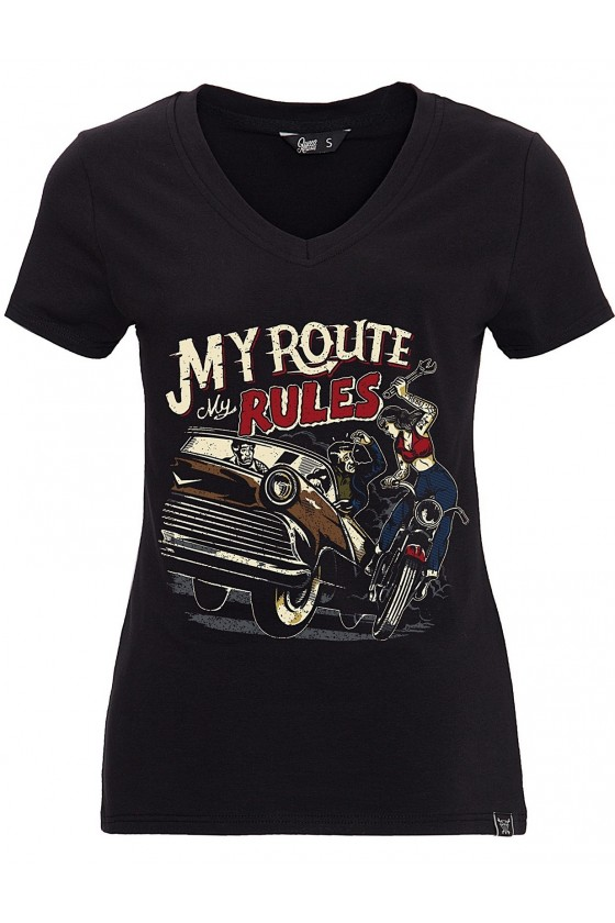 WOMEN'S T-SHIRT MY ROUTE MY RULES (black)