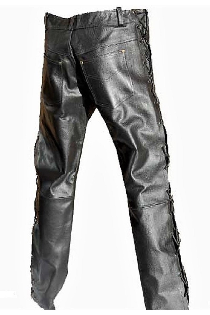 LACING LEATHER JEANS (black)