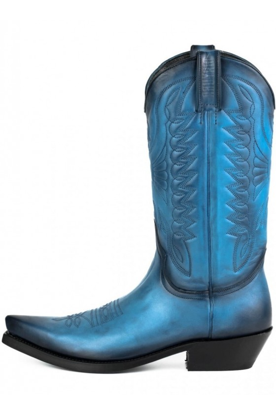 LEATHER COWBOY BOOTS 1920 (blue)
