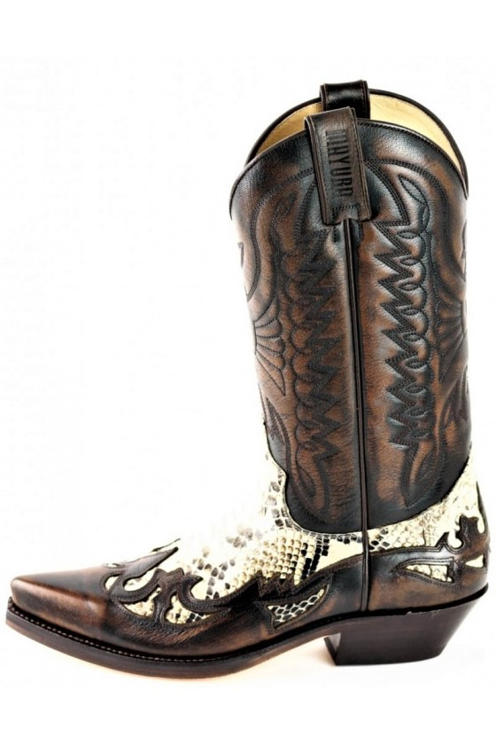 PYTHON LEATHER COWBOY BOOTS (brown)