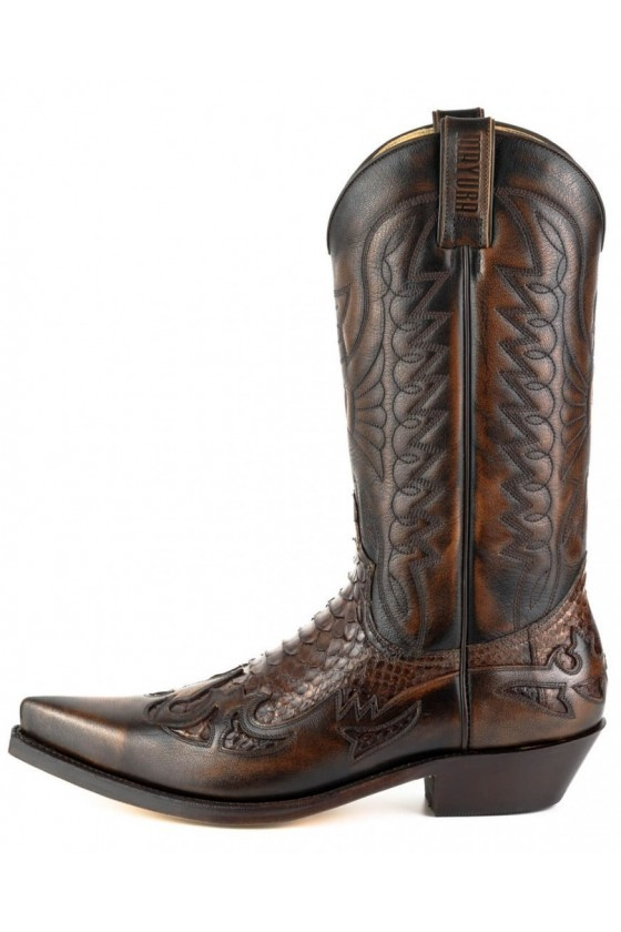PYTHON LEATHER PANELS COWBOY BOOTS 1935 (brown)