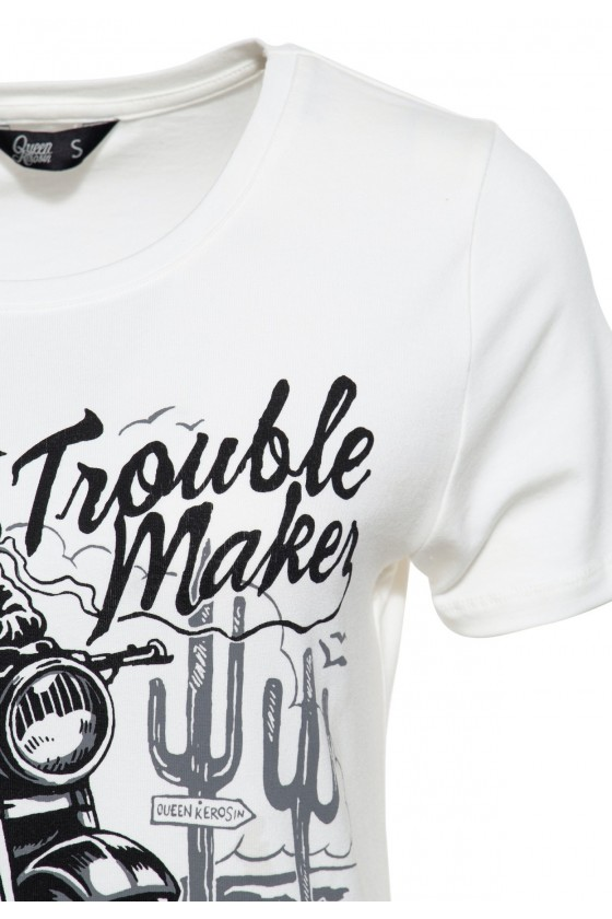 T-SHIRT TROUBLE MAKER (off-white)