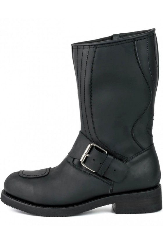 LEATHER BIKER BOOTS WITH ZIPPER (black)