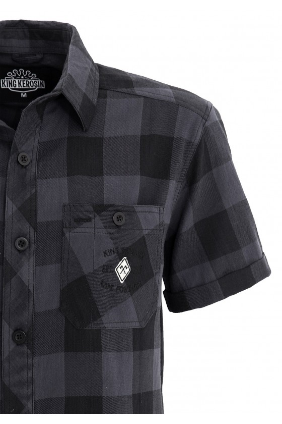 CHECKED SHIRT WITH EMBROIDERY (blue)