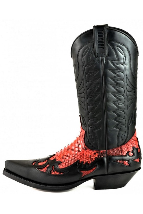PYTHON PANELS COWBOY BOOTS MEX (black/red)