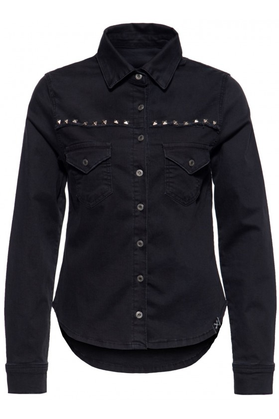 DENIM BLOUSE WITH RIVET DETAILS (black)
