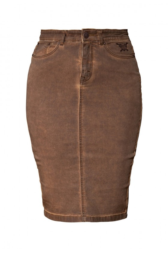 OILWASH EFECT DENIM SKIRT (brown)