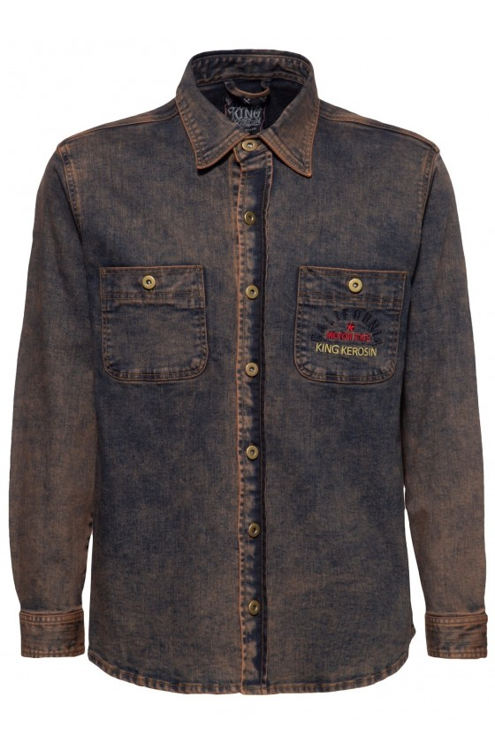 TINT WASH DENIM SHIRT MOTOR STATE (rusty brown)