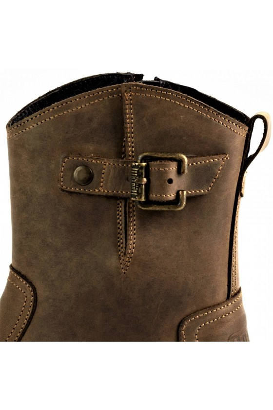 LEATHER ANKLE BOOTS WITH ZIPPER (brown)