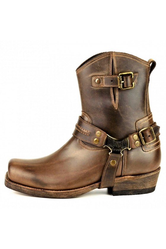 LEATHER ANKLE BOOTS ARS WITH ZIPPER (brown)