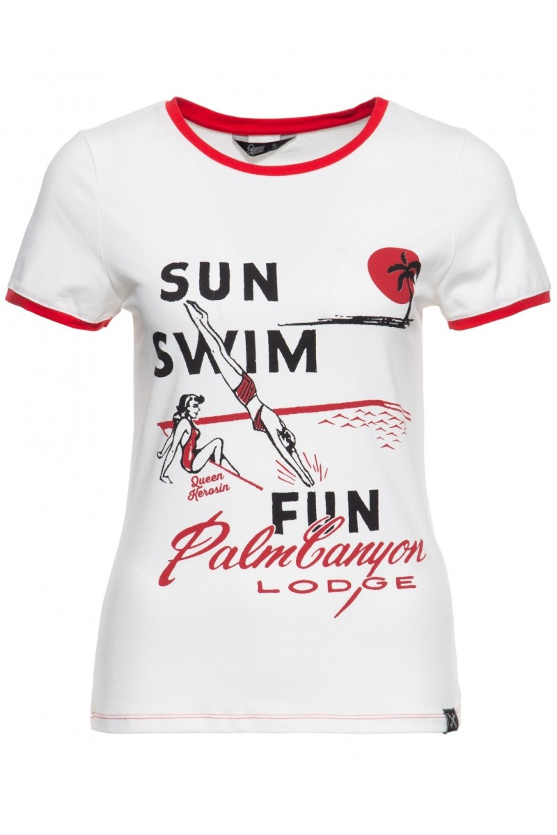 WOMEN'S T-SHIRT SUN, SWIM, FUN (off-white)