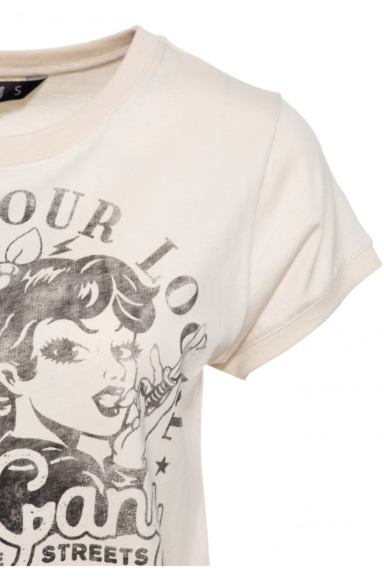 VINTAGE T-SHIRT GIRL GANG (beige)