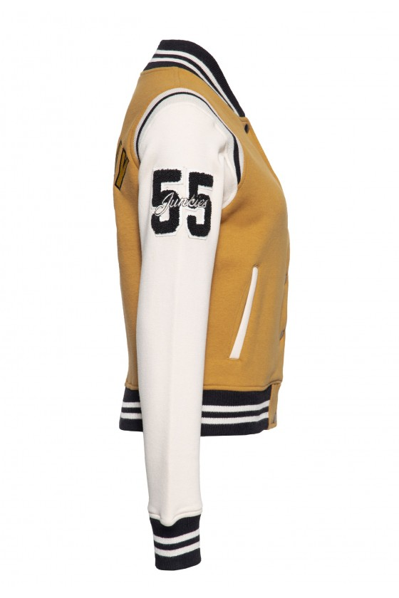 COLLEGE SWEAT JACKET SPEEDWAY QUEENS (light-brown)