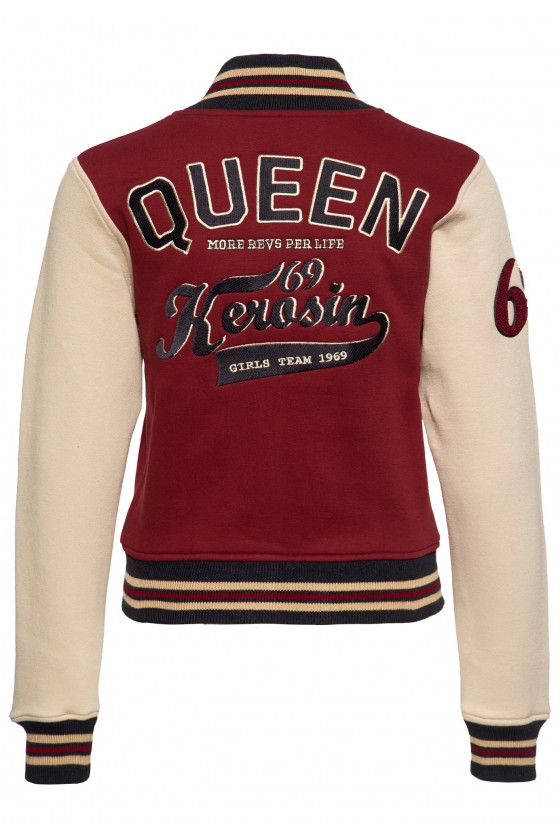 COLLEGE SWEAT JACKET QK MORE REVS PER LIFE (dark red)