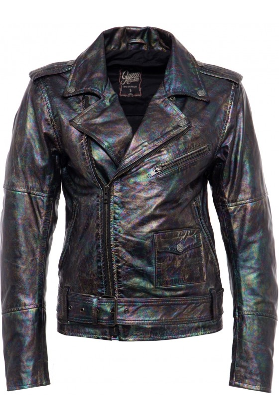 ROCK STYLE LEATHER JACKET (mother of pearl)