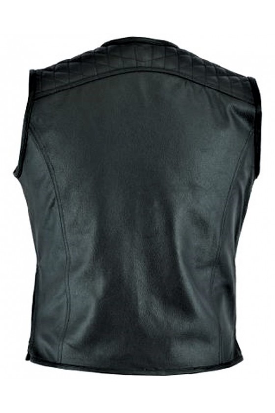 LEATHER BIKER VEST (black)