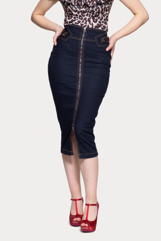 FEMME FATALE DENIM SKIRT (denim blue)