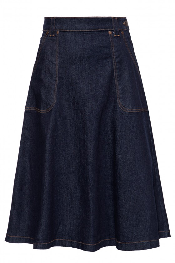 ELASTIC DENIM SWING SKIRT